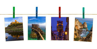 Portugal travel images my photos on clothespins. Isolated on white background Stock Image