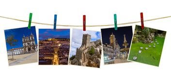 Portugal travel images my photos on clothespins. Isolated on white background Stock Photos