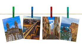 Portugal travel images my photos on clothespins. On white background Royalty Free Stock Photo