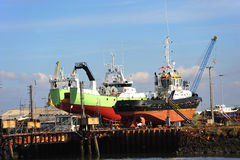 In Portugal a trawler fishing cod boat Royalty Free Stock Photo