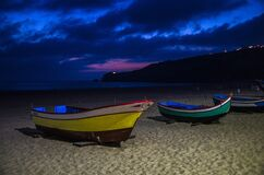 Free Portugal, Twilight Over Nazare Beach, Red Boat Stock Photography - 169326912