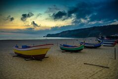 Free Portugal, Twilight Over Nazare In June, Wooden Boat Royalty Free Stock Image - 169326816