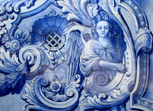 Portugal. Typical blue and white `azulejo` tiles depicting an angel. Royalty Free Stock Photos