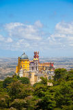 Panorama of Pena National Palace above Sintra town Royalty Free Stock Photography