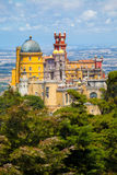 Panorama of Pena National Palace above Sintra town Royalty Free Stock Photo