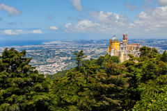 Panorama of Pena National Palace above Sintra town Stock Photo