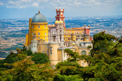 Panorama of Pena National Palace above Sintra town Royalty Free Stock Photos
