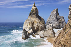 Portugal: Ursa beach bathing in sunshine. Ursa beach near Sintra Cascais national park on the west coast of Portugal during the day. This beach has been voted as Stock Photography
