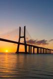 Portugal, Vasco Da Gama Bridge, Lisbon. Sunrise Stock Photos