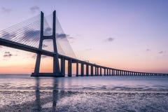 Portugal, Vasco Da Gama Bridge, Lisbon. Sunrise Royalty Free Stock Photos
