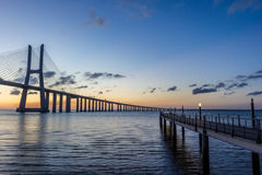 Portugal, Vasco Da Gama Bridge, Lisbon. Sunrise Royalty Free Stock Images
