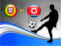 Portugal versus North Korea on Blue Abstract World Map Backgroun Royalty Free Stock Photography