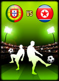 Portugal versus North Korea on Stadium Event Background Stock Photo