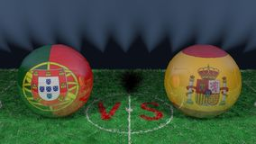 Portugal versus Spain. 2018 FIFA World Cup.Original 3D image. June 15th, Portugal vs Spain 2018 FIFA World Cup.Original 3D image. Two balloons above a soccer Royalty Free Stock Photography