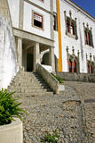 Portugal Village Building Architecture Cobblestone Street. Village of Sintra, Portugal features historic architecture and cobblestone streets Royalty Free Stock Photos
