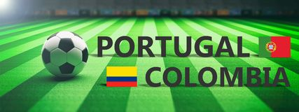 Soccer, football match, Portugal vs Colombia. 3d illustration Stock Image