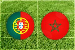 Portugal vs den Marocco fotbollsmatchen Royaltyfri Fotografi