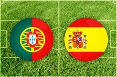 Portugal vs den Spanien fotbollsmatchen Arkivbilder