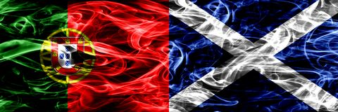 Portugal vs Scotland, Scottish smoke flags placed side by side. Thick colored silky smoke flags of Portuguese and Scotland, Scotti royalty free stock image