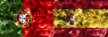 Portugal vs Spain smoke flag, group B, Fifa football world cup 2. 018, Moscow, Russia Royalty Free Stock Image