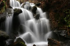 Portugal Waterfall. Waterfall with motion blur in Montesinho, Portugal royalty free stock photography
