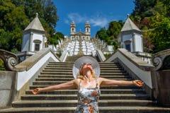 Portugal woman enjoying royalty free stock photos