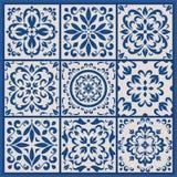 Portugalczyk płytki z azulejo ornamentami royalty ilustracja