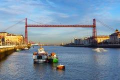 Portugalete i Lasu areny Getxo z wiszącym mostem Zdjęcie Royalty Free
