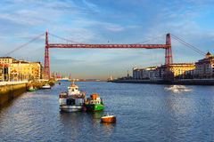 Portugalete and Las Arenas of Getxo with hanging bridge Royalty Free Stock Photo