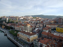 The town of Portugalete in Bilbao. Aerial view from the suspension bridge of the town of Portugalete in Bilbao, during a sunny day Royalty Free Stock Image