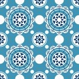 Portugalia bezszwowy wzór Rocznik ceramicznej płytki śródziemnomorska tekstura Geometryczny płytka wzór ilustracja wektor