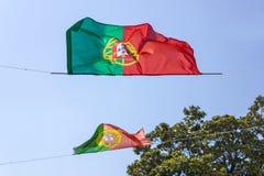 Portugalia flaga przy wiatrem Zdjęcia Stock