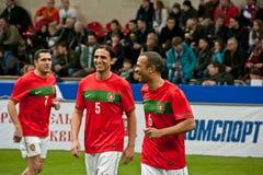 Portugalia futboliści są rozgrzewkowi up obrazy stock