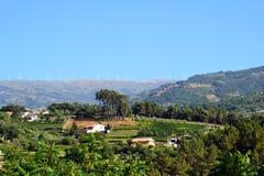 Portugalia krajobraz z silnikami wiatrowymi Zdjęcie Stock