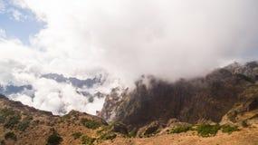Portugalia, madera, widok góry blisko Pico De Arieiro antena Zdjęcie Stock