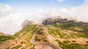 Portugalia, madera, widok góry blisko Pico De Arieiro antena Obrazy Royalty Free