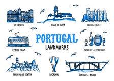 Portugalia punkty zwrotni ustawiający Handdrawn nakreślenie stylu wektoru ilustracja ilustracja wektor