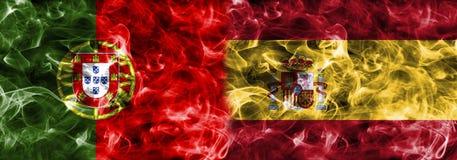 Portugalia vs Hiszpania dymu flaga, grupowy b, futbolowy puchar świata 2018, ilustracji