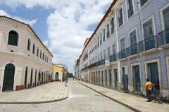 Portugalski Brazylijski Kolonialny architektury Rua Portugalia Sao Luis Brazylia Zdjęcie Stock