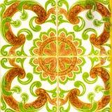 Portugalskie Retro Oszklone płytki z Geometrical wzorem, Handmade Azulejos, Portugalia Uliczna sztuka, Abstrakcjonistyczny tło Obrazy Royalty Free