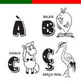 Portugees alfabet Paard, reiger, walvis De brieven en de karakters Stock Fotografie