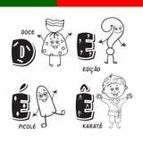 Portugees alfabet Suikergoed, vraagteken, ijslolly, karate De brieven en de karakters Royalty-vrije Stock Afbeeldingen