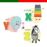 Portugees alfabet Xylofoon, gestreepte Yeti, De brieven en de karakters Royalty-vrije Stock Foto's