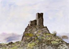 Portugees middeleeuws kasteel - pen, inkt en waterverf Stock Foto's
