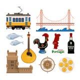Portugees vectordiepictogram in vlakke stijl wordt geplaatst Stock Foto