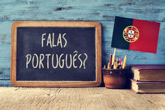 Portuges de falas de question ? parlez-vous portugais ? images stock