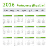 2016 Portugese Amerikaanse Kalender Het begin van de week op Zondag Stock Afbeelding