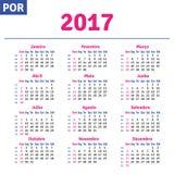 Portugese (Braziliaanse) kalender 2017 Stock Afbeeldingen
