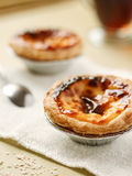 Portugese Egg Tart. With tea Royalty Free Stock Images