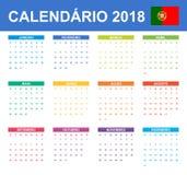 Portugese Kalender voor 2018 Planner, agenda of agendamalplaatje Het begin van de week op Maandag Stock Fotografie